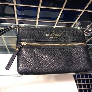 Kate Spade Black Faux Leather Wristlet